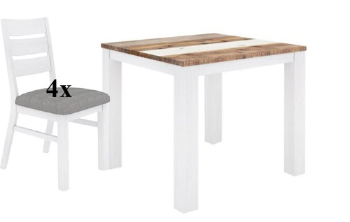 ROVER   5 PIECE DINING SETTING WITH SQUARE HARDWOOD  DINING TABLE -900(L) X 900(W) - (4-15-22-5-18) - MULTI-COLOR