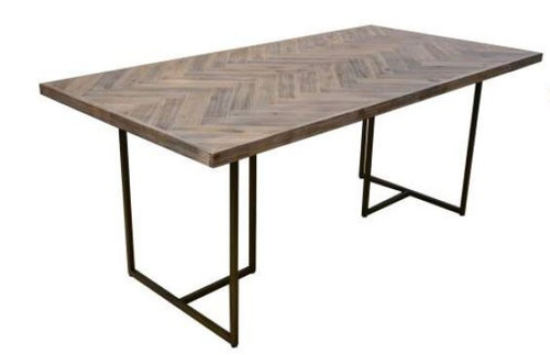 COUNTRY DINING TABLE WITH METAL LEGS (18-15-13-1) 2100(L) X 1000(W) - OAK