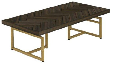 COUNTRY COFFEE TABLE WITH METAL LEGS (18-15-13-1) 400(H) X 1200(W) - TESKY