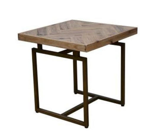 COUNTRY LAMP TABLE WITH METAL LEGS (18-15-13-1) - OAK