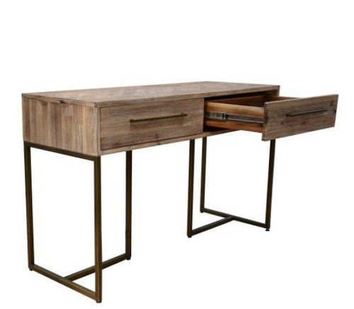 COUNTRY 2 DRAWERS  CONSOLE/HALL TABLE WITH METAL LEGS (18-15-13-1) 750(H) X 1200(W) - OAK