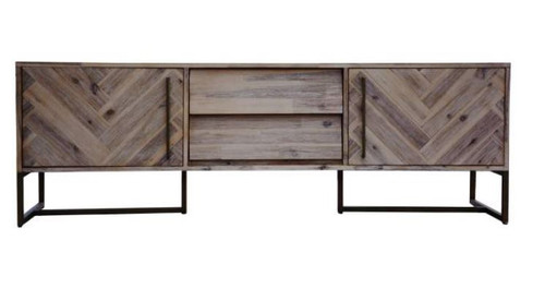 COUNTRY  2 DOORS + DRAWERS TV UNIT  WITH METAL LEGS (18-15-13-1) 600(H) X 1800(W) - OAK