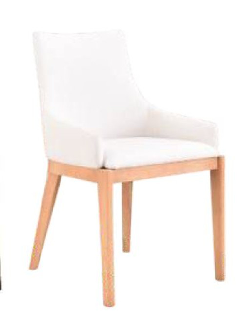 COUNTRY FABRIC  DINING CHAIR  (18-15-13-1) 610(H) X 530(W) -WHITE/NATURAL