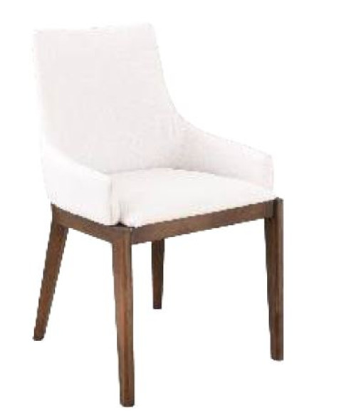 COUNTRY FABRIC  DINING CHAIR  (18-15-13-1) 610(H) X 530(W) -WHITE/WALNUT