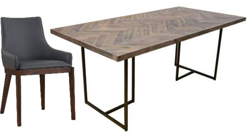 COUNTRY 7 PIECE DINING SETTING WITH 1800(L) X 900(W) TABLE (18-15-13-1)- GREY/OAK