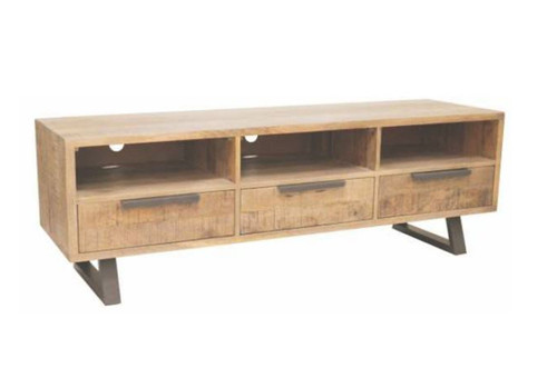 UNIQ (UL-007) 3 DRAWER TV  ENTERTAINMENT UNIT  WITH  METAL LEGS - 500(H) X 1500(W)    - NATURAL