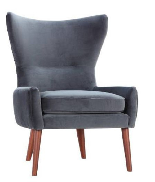 ECLIPSE  VELVET UPHOLSTERED  ARM CHAIR - DARK GREY