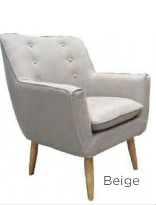 LUCCA FABRIC UPHOLSTERED ARM CHAIR -  BEIGE