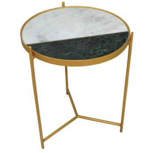 AVRIL MARBLE TOP LAMP/SIDE TABLE  WITH ANTIQUE BRASS LEGS - COLOR AS PICTURED
