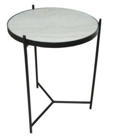 AVRIL MARBLE TOP LAMP/SIDE TABLE  - MATTE BLAC K