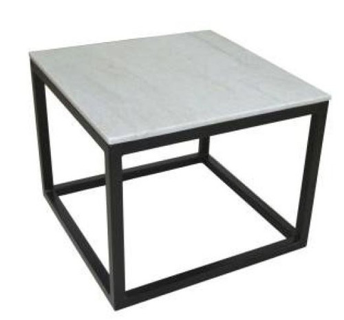 AVRIL  SQUARE MARBLE TOP LAMP/SIDE TABLE  - MATTE BLAC K