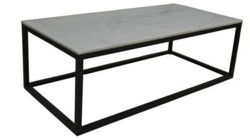 BEACON MARBLE TOP COFFEE TABLE - 400(H) X 1200(W) x 600(D) - BLACK / GREY