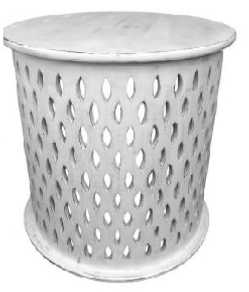 MOSAIC ROUND  LAMP / SIDE TABLE - WHITE