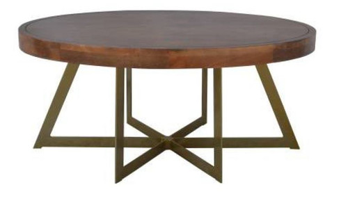 JAQUES OVAL SHAPED COFFEE TABLE  WITH METAL LEGS - - OAK