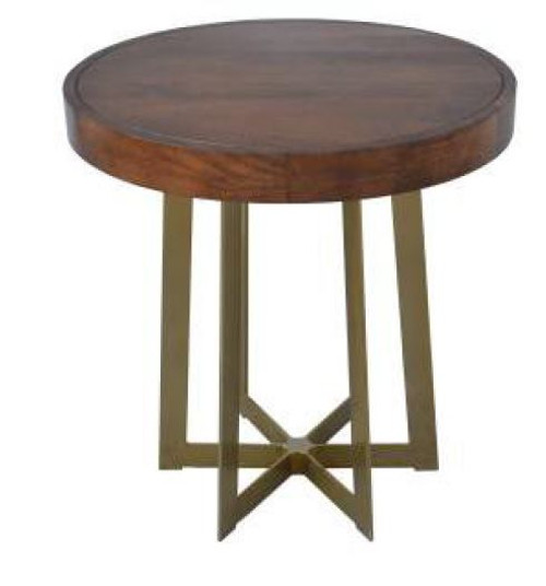 JAQUES ROUND LAMP/SIDE TABLE  WITH METAL LEGS- OAK
