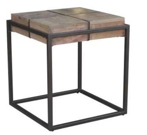 JENNY LAMP/SIDE TABLE WITH METAL LEGS - OAK