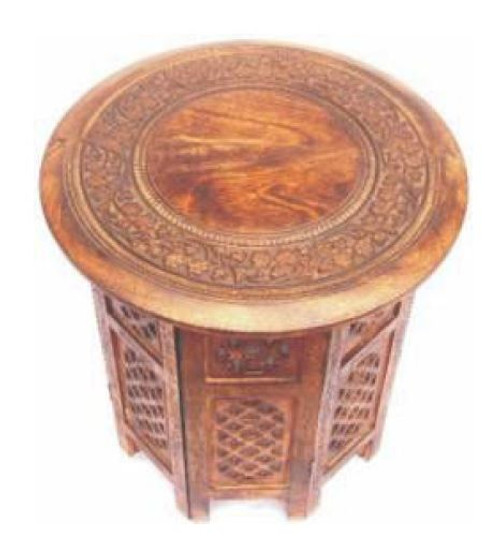 EXOTIC  ROUND LAMP/SIDE TABLE  - BURNT FINISH