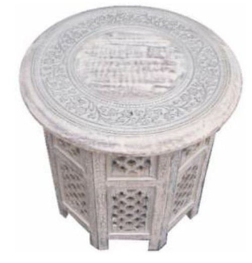 EXOTIC  ROUND LAMP/SIDE TABLE  - WHITE FINISH