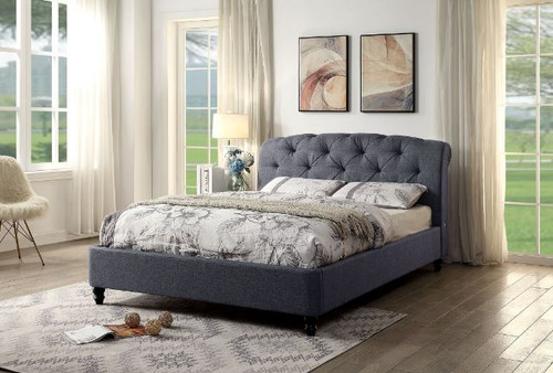 KING BOSTIN UPHOLSTERED FLECK FABRIC BED  FRAME WITH USB PORTS -(2-1-12-13-15-18-1-12) - GREY