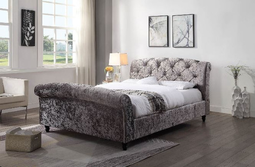 KING BOSTIN FABRIC  UPHOLSTERED GLITZ PEWTER SLEIGH BED  FRAME WITH USB PORTS -(2-1-12-13-15-18-1-12) - SILVER
