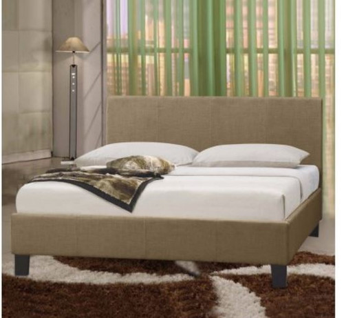 QUEEN   POLARIS LEATHERETTE  BED FRAME - BEIGE