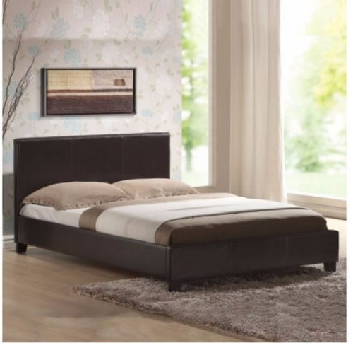 DOUBLE   POLARIS LEATHERETTE  BED FRAME - BROWN