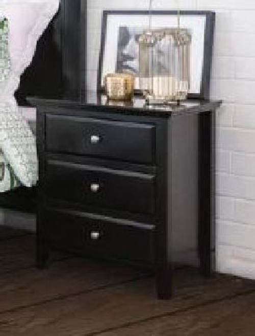 BALLINA 3 DRAWER BEDSIDE CHEST - BLACK