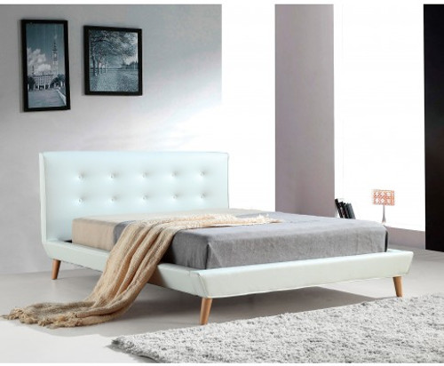 DELUXE DOUBLE LEATHERETTE BED FRAME WITH TUFTED HEADBOARD - WHITE