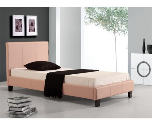 SINGLE  MARSHELLOW  LEATHERETTE BED FRAME  - PINK