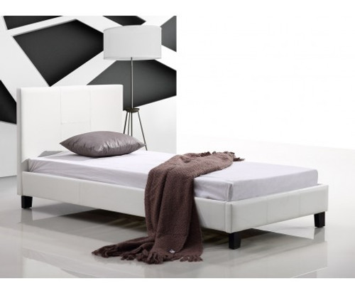 SINGLE  MARSHELLOW  LEATHERETTE BED FRAME  - WHITE