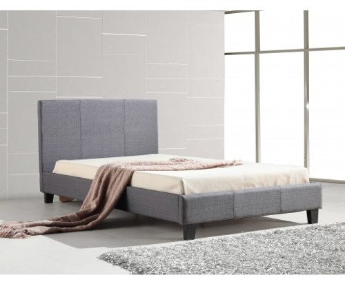 KING SINGLE  MATINO LINEN FABRIC BED FRAME - GREY