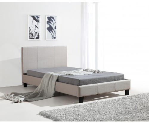 KING SINGLE  MATINO LINEN FABRIC BED FRAME - BEIGE
