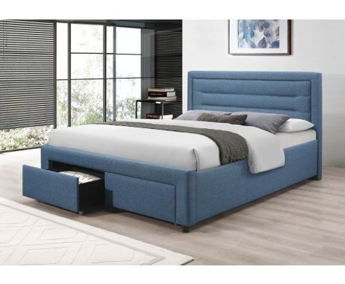 QUEEN SARZ FABRIC UPHOLSTERED BED FRAME WITH 2 STORAGE  FOOTEND DRAWERS - LIGHT BLUE