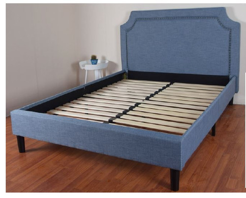 DOUBLE BELINDA FABRIC UPHOLSTERED BED FRAME (2-18-5-19-3-9-1)  - BLUE