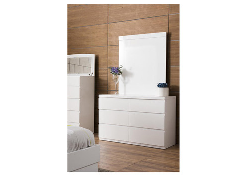ROGAN 6 DRAWER DRESSING TABLE CHEST WITH MIRROR - (LS-718TB) -HIGH GLOSS WHITE