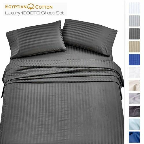 4 PIECE EGYPTIAN COTTON BED SHEET & PILLOW CASE SET - ASSORTED COLORS