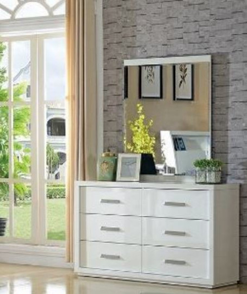 CHICAGO 6 DRAWER DRESSING TABLE WITH MIRROR - HIGH GLOSS WHITE