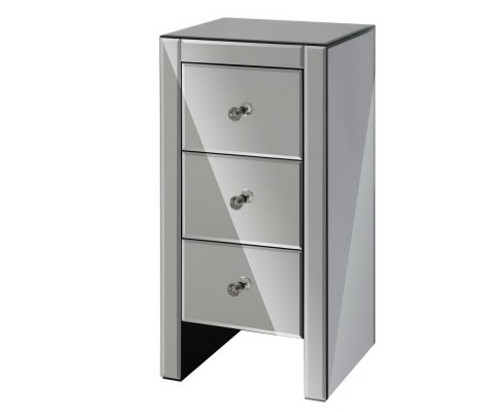 AVANT 3  DRAWER MIRRORED BEDSIDE TABLE - GREY