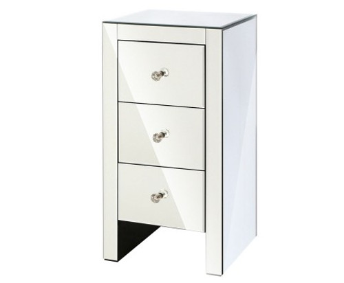 AVANT 3  DRAWER MIRRORED BEDSIDE TABLE - SILVER
