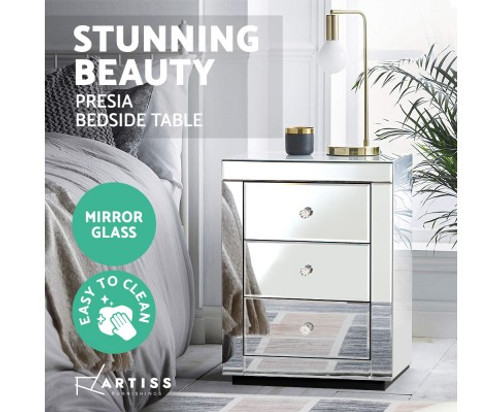 DEVIONA  3  DRAWER MIRRORED BEDSIDE TABLE - SILVER