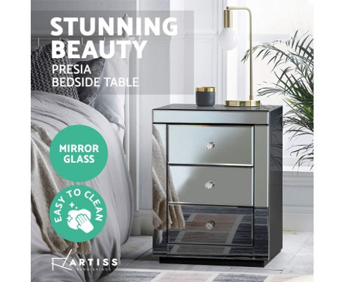 DEVIONA  3  DRAWER MIRRORED BEDSIDE TABLE - GREY