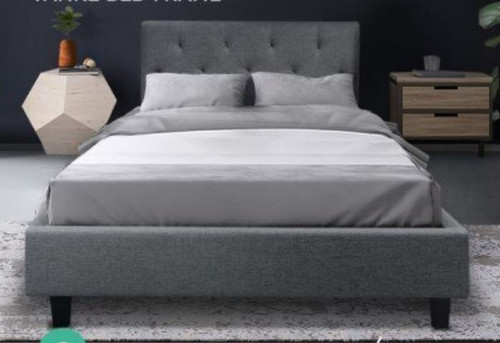 KING SINGLE  LAUREENA  FABRIC BED FRAME - CHARCOAL