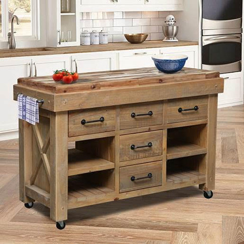 ASHFORT HARDWOOD TOP WORK BENCH WITH 5 DRAWERS  - RUSTIC BARN