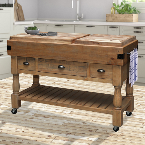 BEAUFORT   WORK BENCH WITH 3 DRAWERS  - RUSTIC BARN