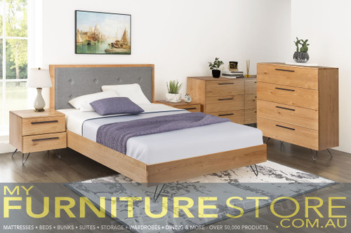 DOUBLE ANGULAR BED FRAME WITH FABRIC UPHOLSTERED HEADBOARD (IA-46) - RUSTIC OAK