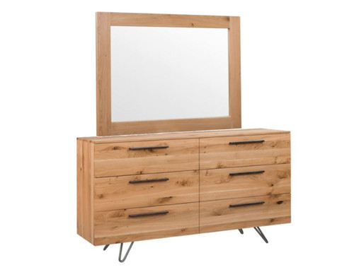 ANGULAR 6 DRAWERS DRESSING TABLE WITH MIRROR (IA-6DC) - RUSTIC OAK
