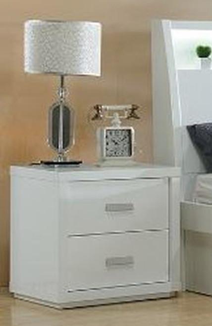CHICAGO 2 DRAWER BEDSIDE TABLE (MODEL:LS-113) - HIGH GLOSS  WHITE