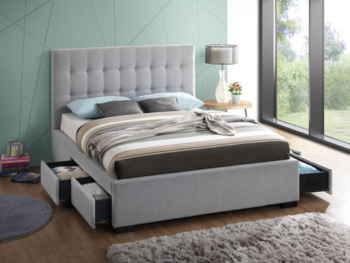 DOUBLE CLEO / BRONTE FABRIC BED WITH 4 SIDE UNDER BED DRAWERS - LIGHT GREY