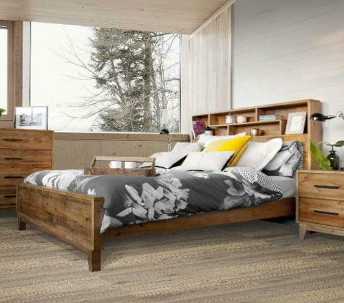 DOUBLE ANTARCTICA BED WITH BOOKCASE & STORAGE HEADBOARD - RUSTIC