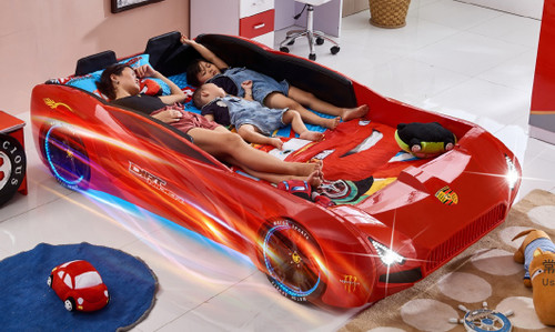 DOUBLE PORSHE CAR BED WITH LIGHTS - RED
